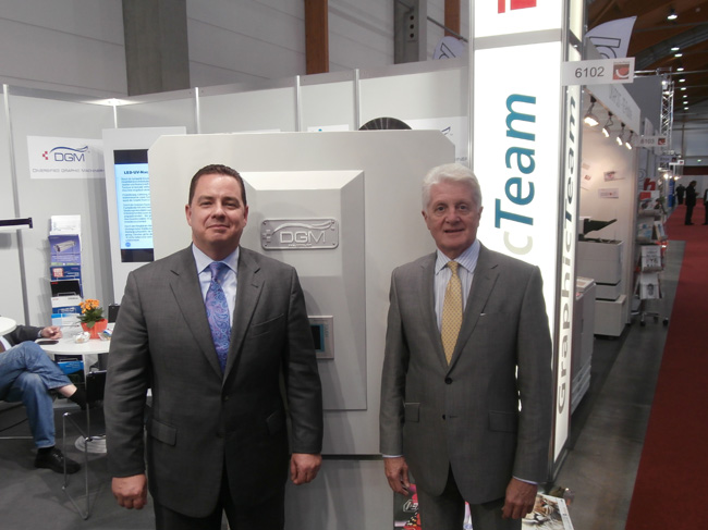 Michael DeBard and John Hopkinson with the Foildex Cold Foil Indexing System for Heidelberg, manroland, KBA, Komori, and Mitsubishi Presses.