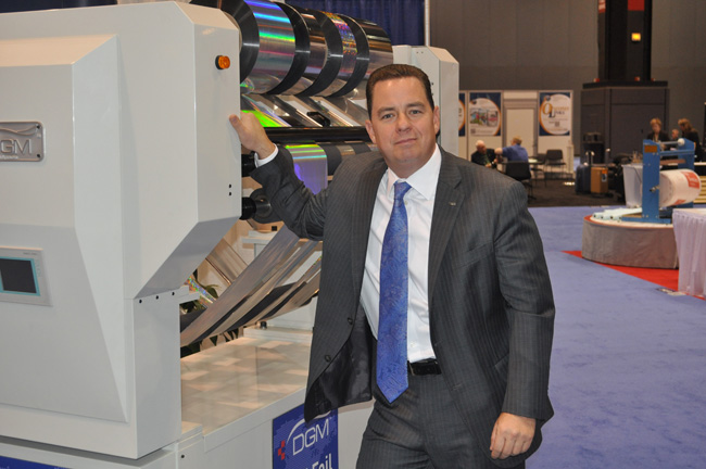 President Michael DeBard and the Foildex Cold Foil Indexing System for KBA, manroland, heidelberg, Komori, and Mitsubishi presses at the 2012 Graph Expo Trade Show