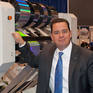 Diversified Graphic Machinery President Michael DeBard with Foildex Cold Foil Indexing System
