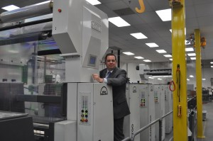 Michael DeBard, President of DGM with the Foildex™ Cold Foil Indexing system at Carlson Print Group