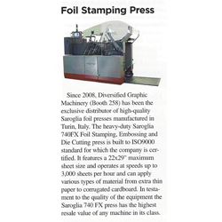 Saroglia Hot Foil Stamper Coverage in Print 13 Show Daily
