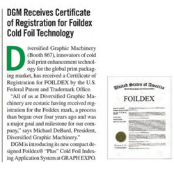 DGM Receives Certificate of Registration for Folidex Cold Foil Technology System coverage in Print 14 Show Daily