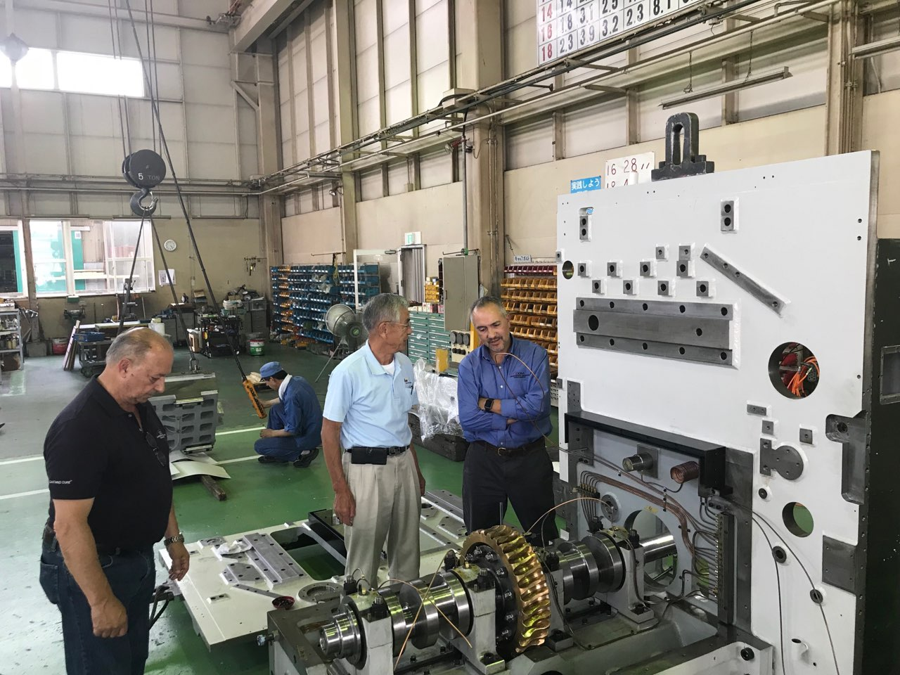 Walter Sussuma, Mr. Iijima and Paul Torres at the Iijima factory Koga, Japan July 2018